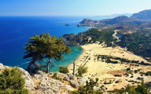 Tsambika beach op Rhodos, Griekenland